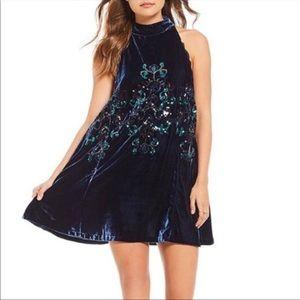 Free People NWT Blue Velvet Sequin Dress